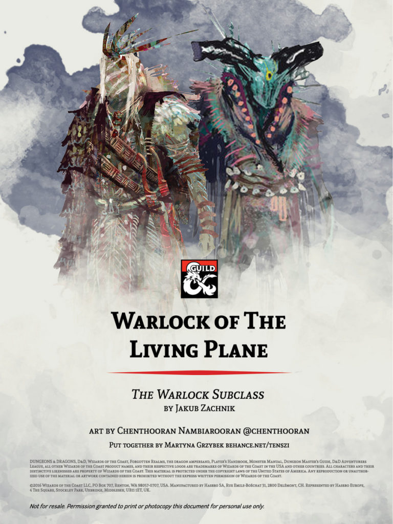 D&D 5e Homebrew Warlock Pact of The Living Plane Cover